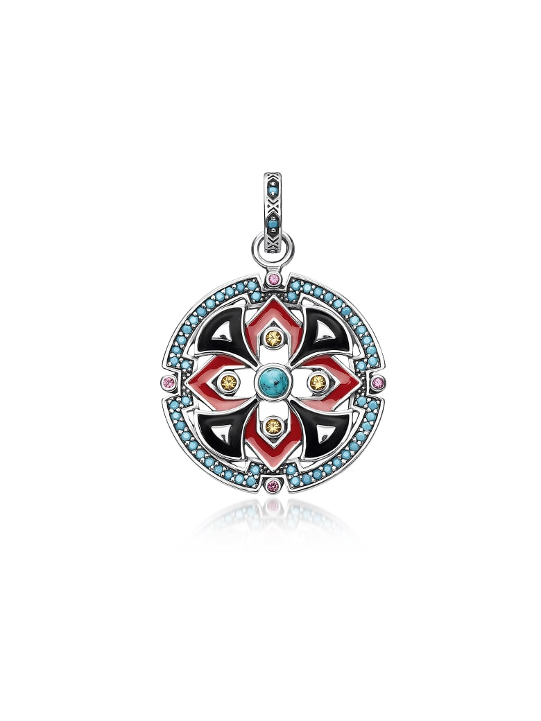 Thomas Sabo Black And Red Enamelled Sterling Silver Round Pendant W/synthetic Turquoise And Red Corundum - Red