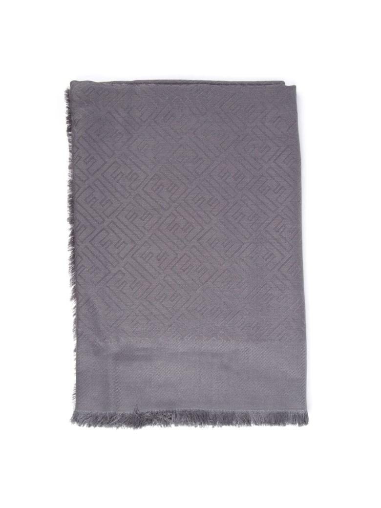 Fendi Gray Silk & Wool Monogram Shawl - Gray