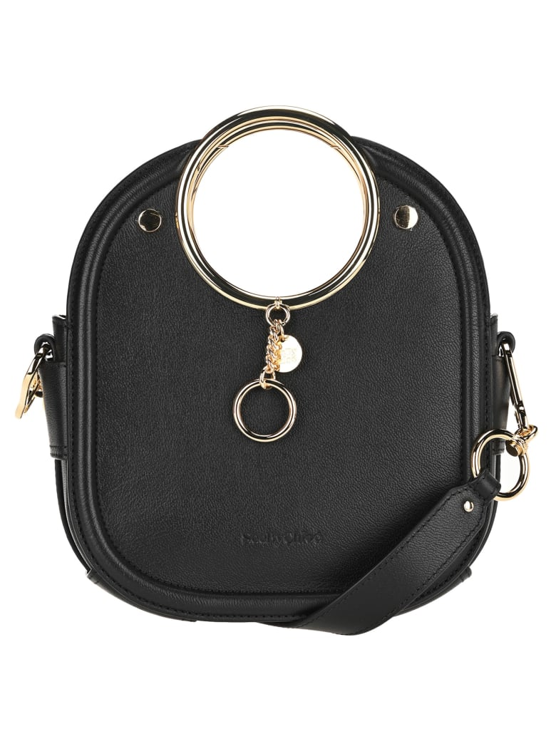 See by Chloé See By Chloe' Mara Ring Handle Tote - BLACK