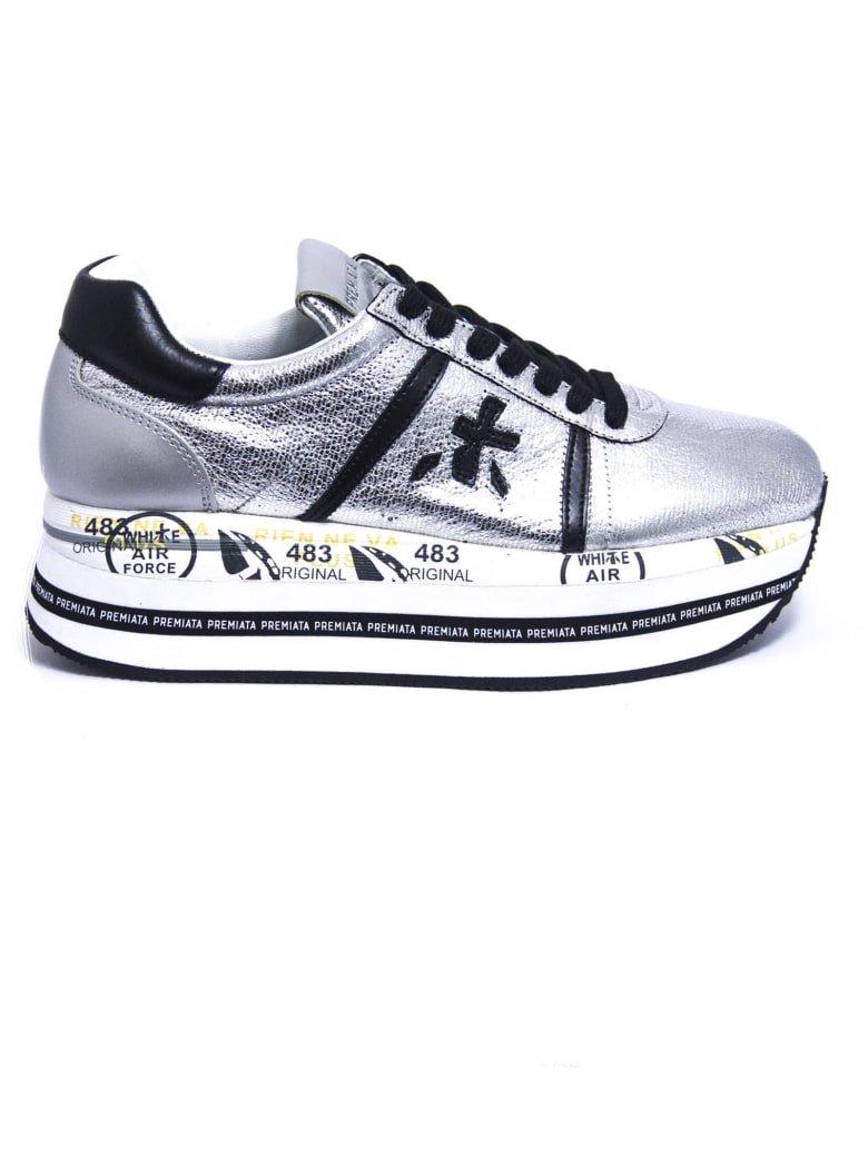 Premiata Beth Sneakers In Silver-finish Satin Leather - Argento