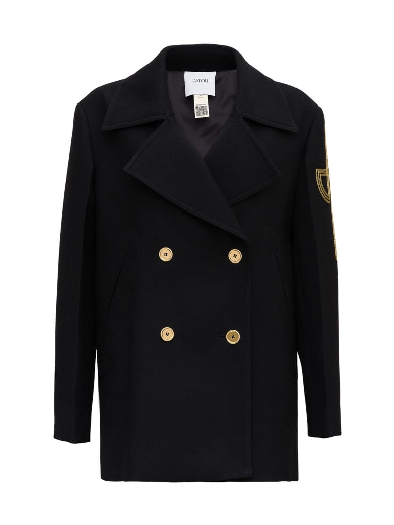 Patou Double Breasted Blazer With Side Inlay - Black