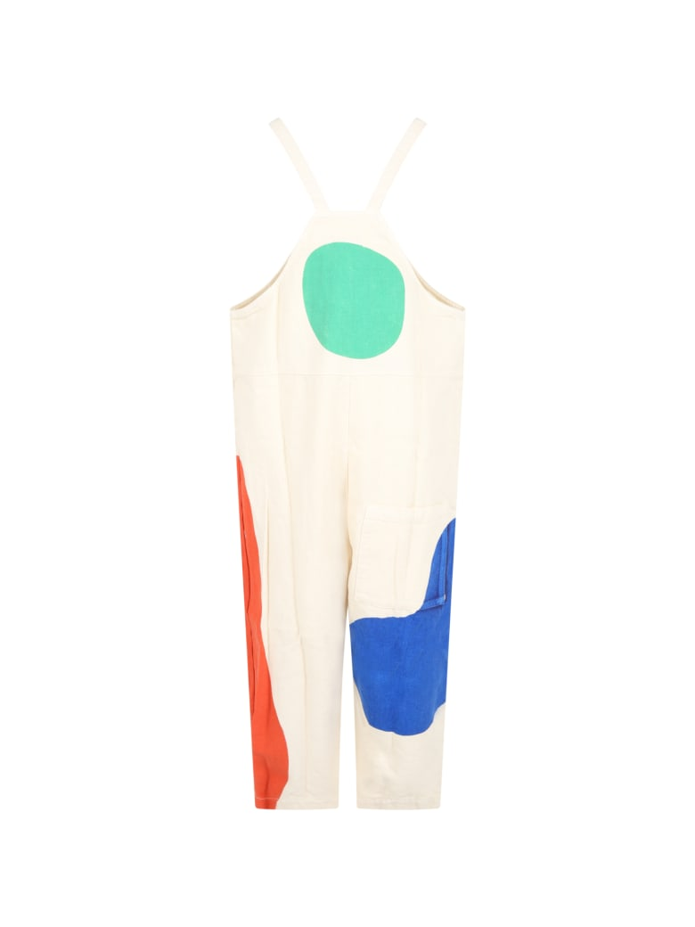 Bobo Choses Ivory Overalls For Kids With Logo - Ivory