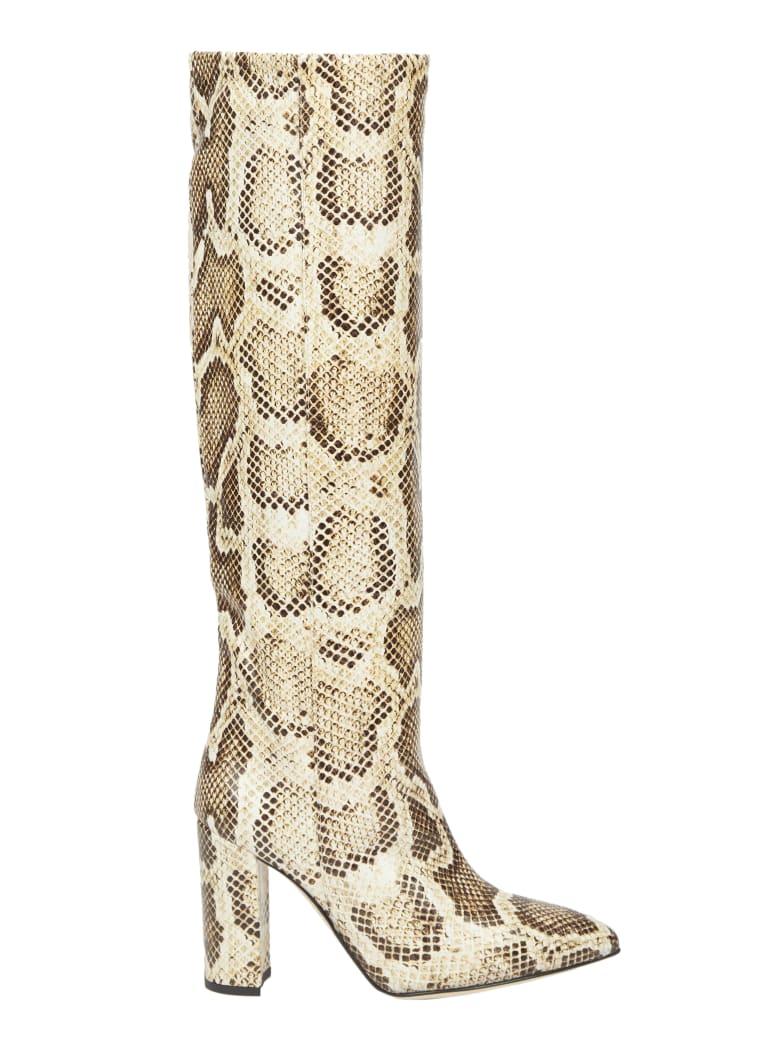 Paris Texas Beige Snake Print Boot - Beige