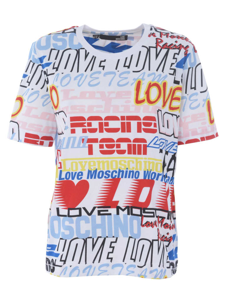 Love Moschino Short Sleeve T-Shirt - Bianco/multicolor