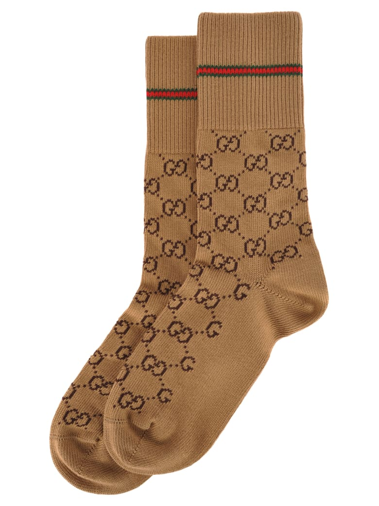 Gucci Gg Cotton Socks With Web - BEIGE