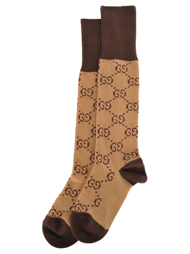 Gucci Gg Pattern Cotton Blend Socks - BEIGE