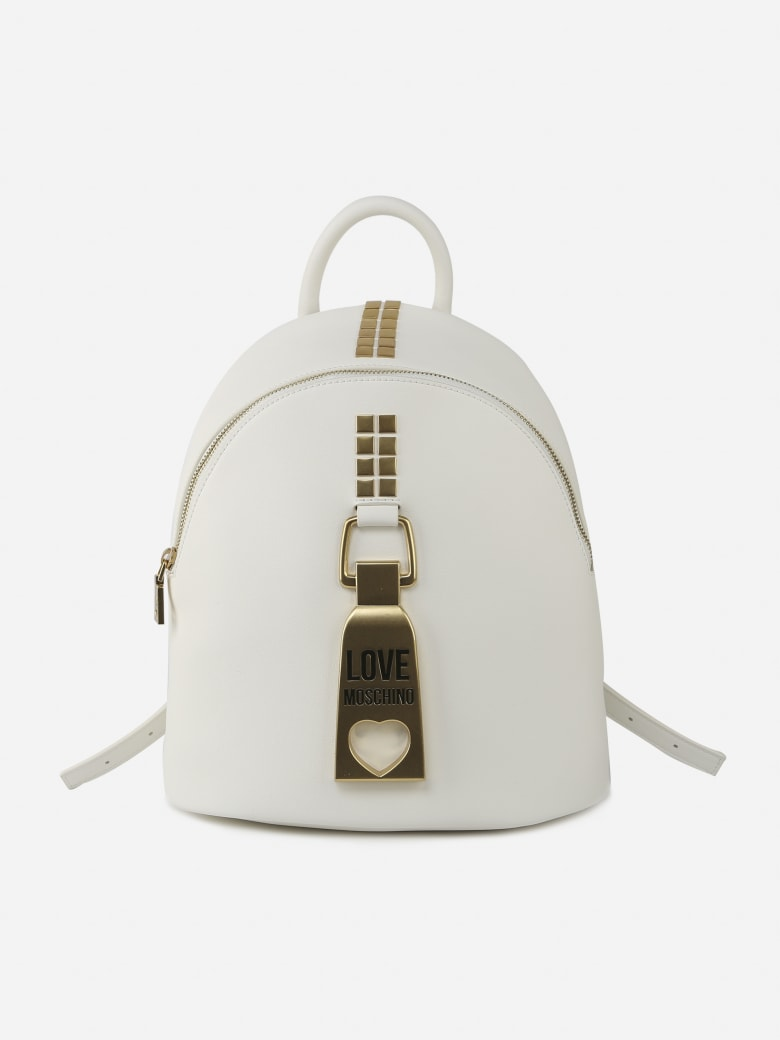 Love Moschino Backpack With Embossed Details - White