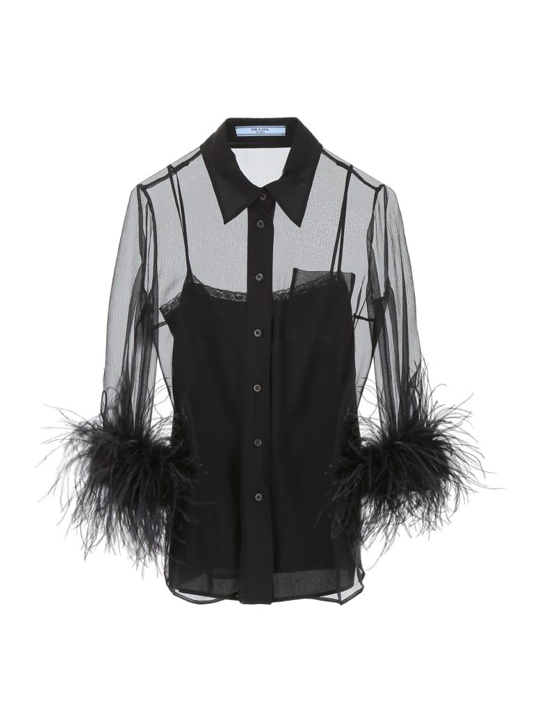 Prada Shirt With Feathers - NERO NERO (Black)