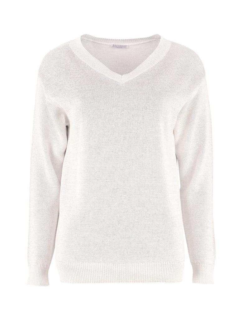 Brunello Cucinelli Cotton V-neck Pullover - White