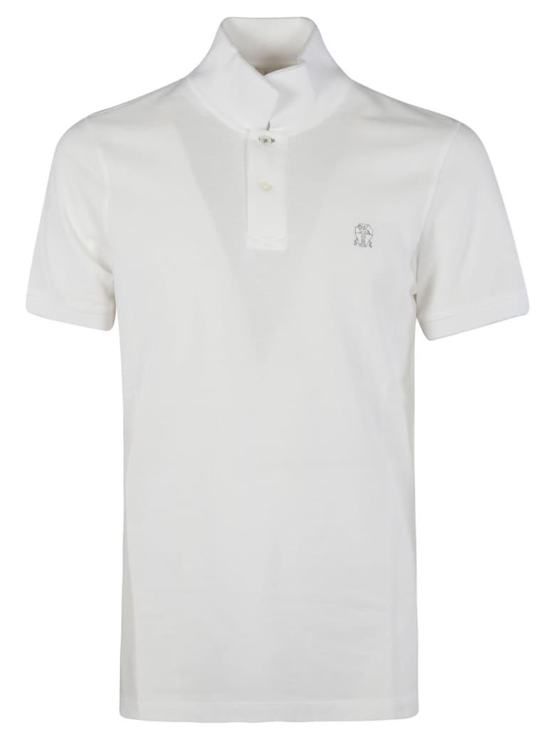 Brunello Cucinelli Chest Logo Polo Shirt - Bianco