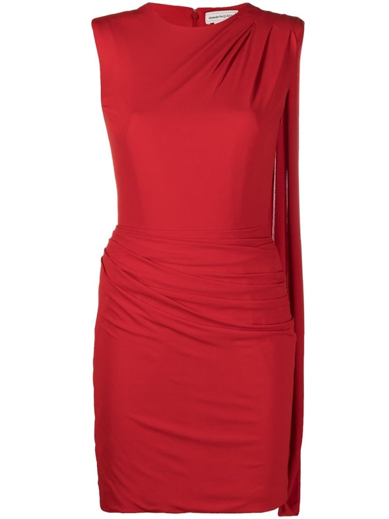 Alexander McQueen Red Dress With Asymmetrical Draping - Red