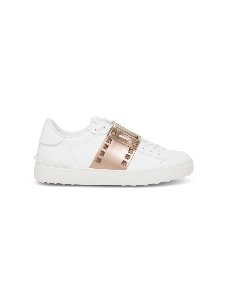 Valentino Garavani Utitled Rockstud Sneakers In Leather With Metallic Band - White