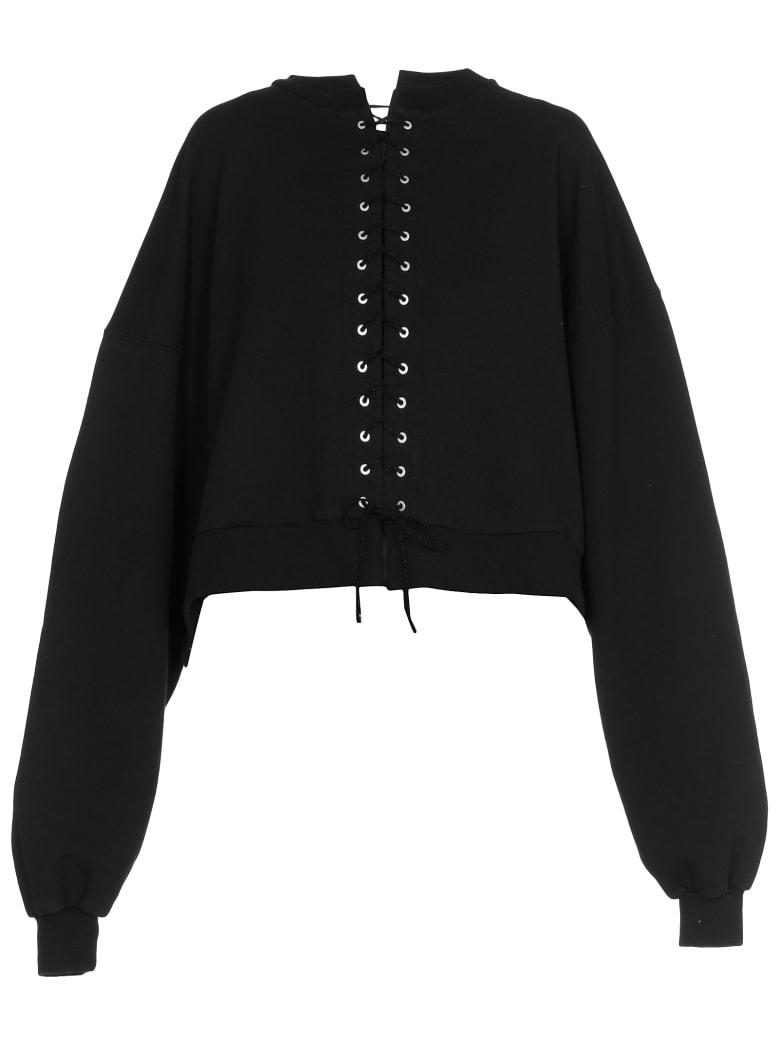 Ben Taverniti Unravel Project Terry Lace Up Sweatshirt - BLACK NO C
