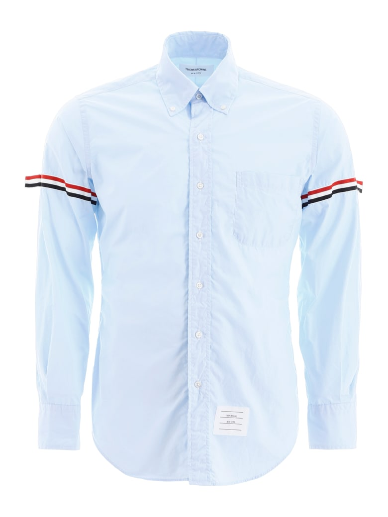 Thom Browne Shirt With Tricolor Bands - LIGHT BLUE (Light blue)