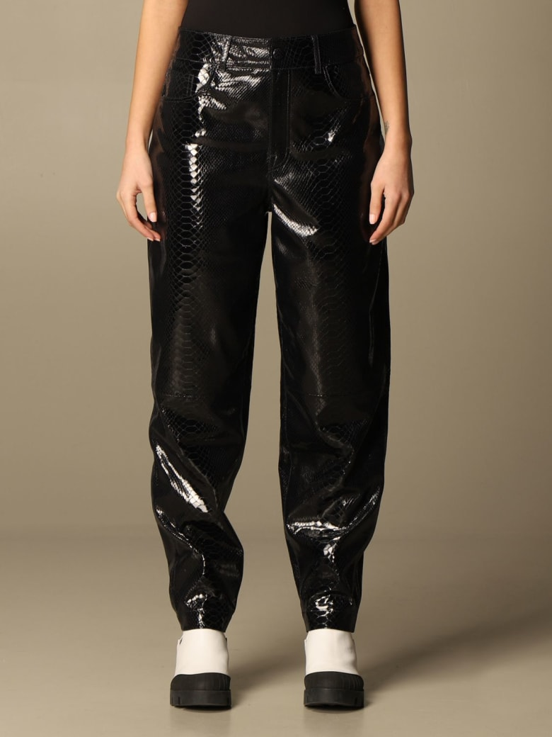 REMAIN Birger Christensen Remain Pants Remain Tapered Trousers In Snake Print Leather - Black