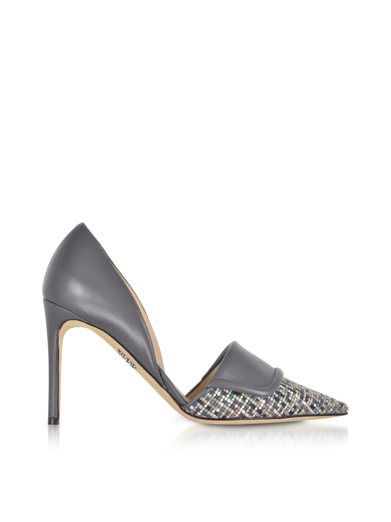 Rodo Leather And Tweed High Heel Pumps - Gray