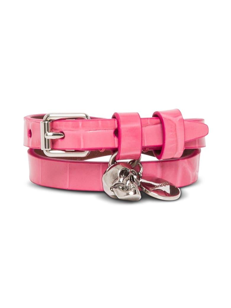 Alexander McQueen Skull Leather Bracelet - Pink