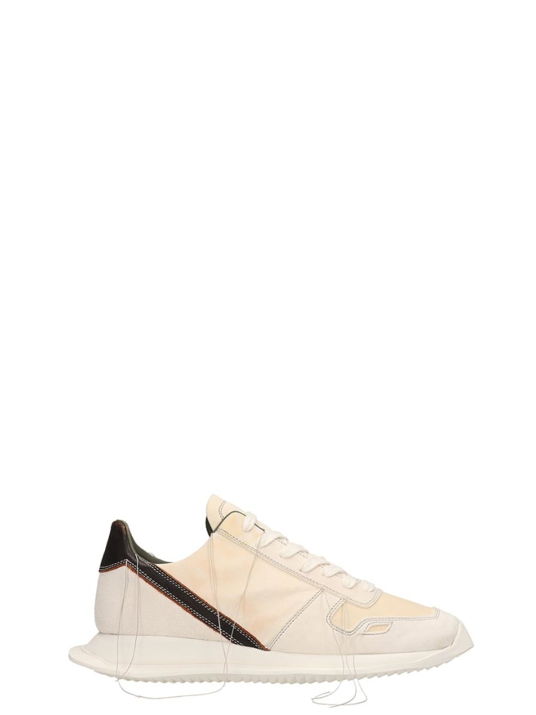 Rick Owens White Leather And Suede Vintage Runner Sneakers - white