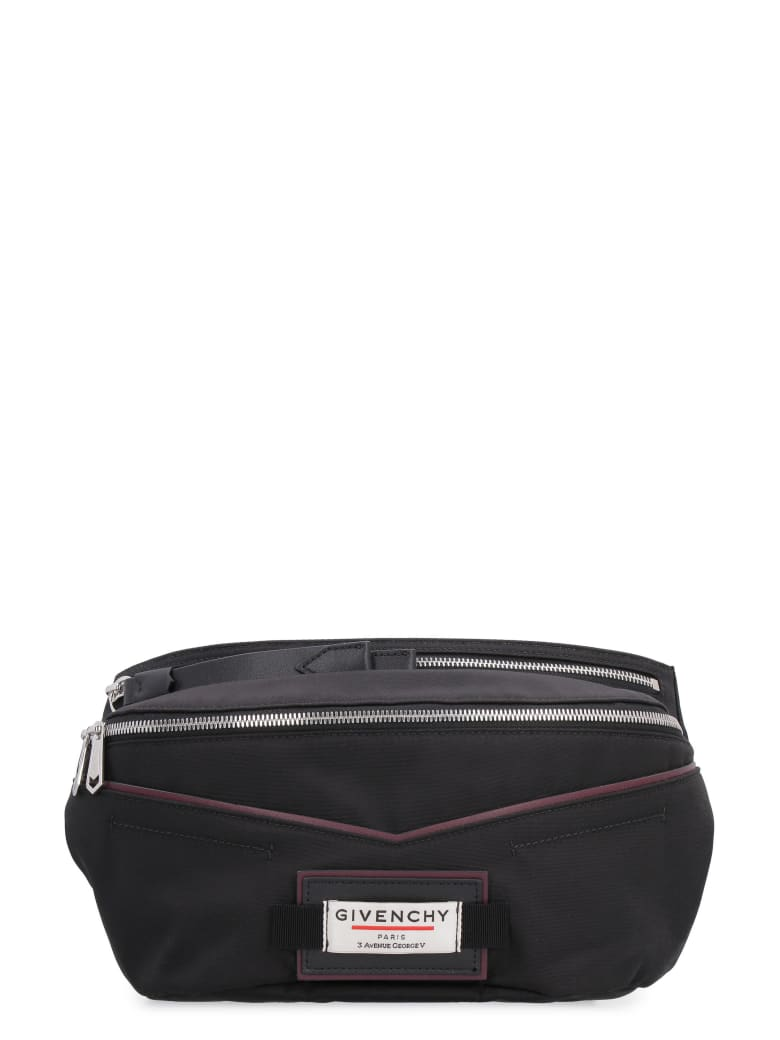 Givenchy Downtown Nylon Belt Bag With Patches - black