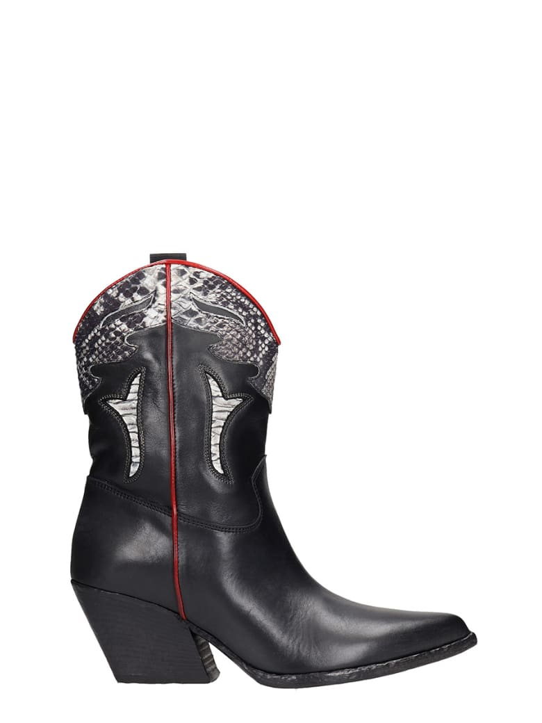 Elena Iachi Texan Ankle Boots In Black Leather - black
