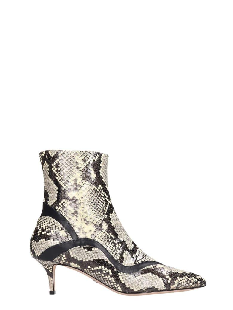 Paula Cademartori High Heels Ankle Boots In Grey Leather - grey