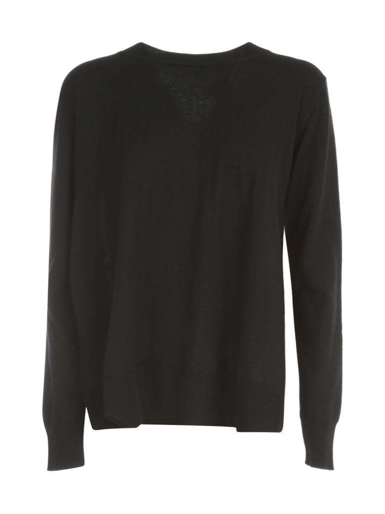 Nuur Round Neck Open Sides 100% Merino Wool Sweater - Nero