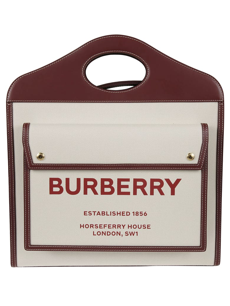 Burberry Medium Pocket Shoulder Bag - Natural/Garnet/Geranium