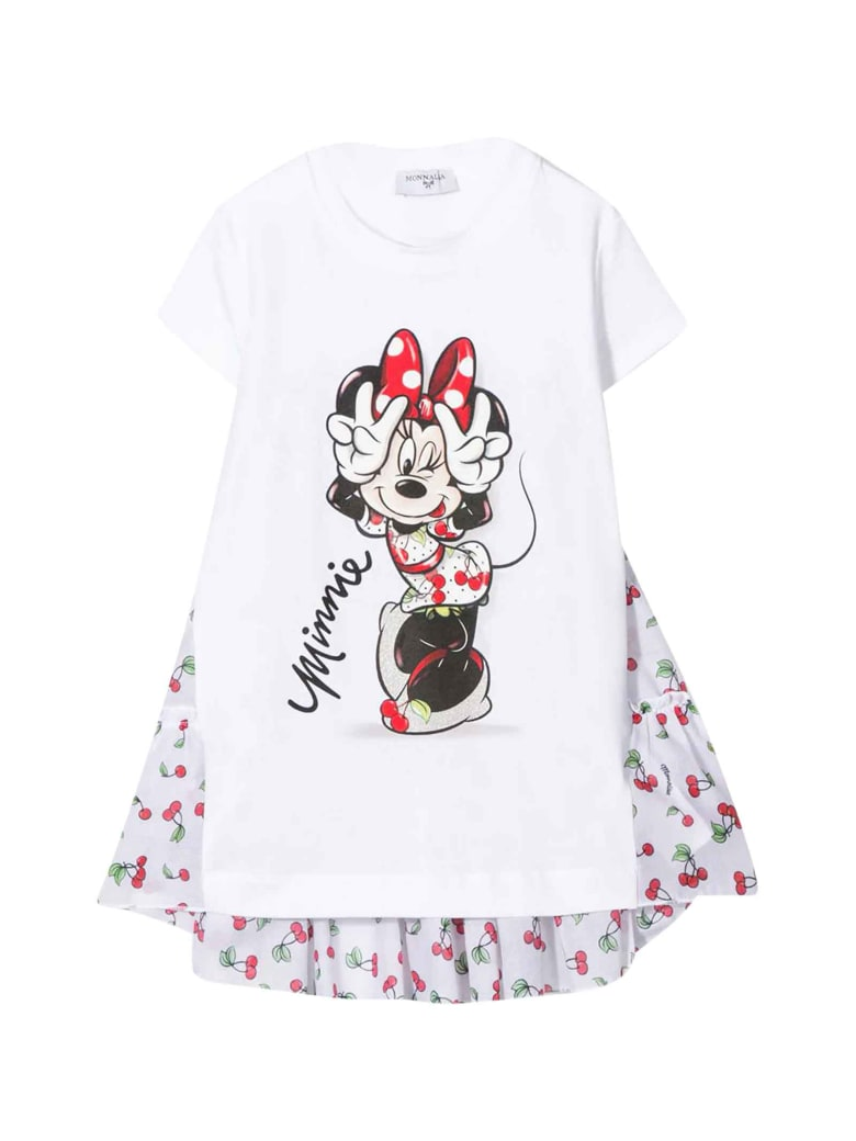 Monnalisa White T-shirt With Minnie Mouse Press - Unica