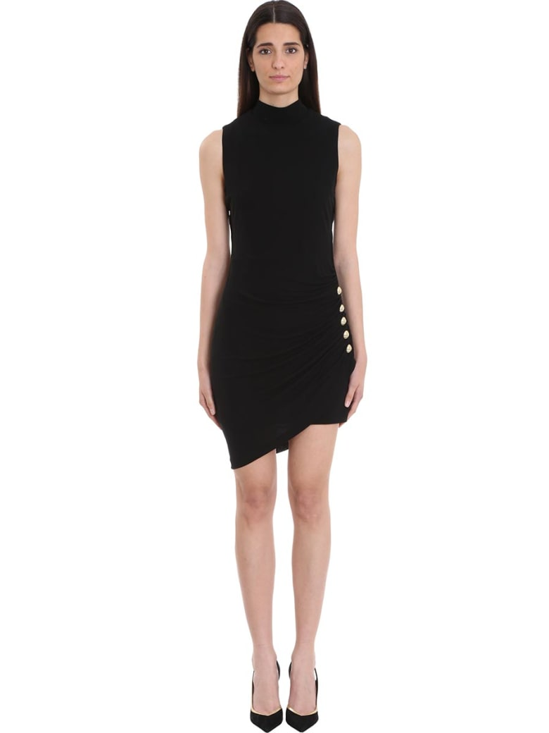 Balmain Pleated Black Jersey Dress - black