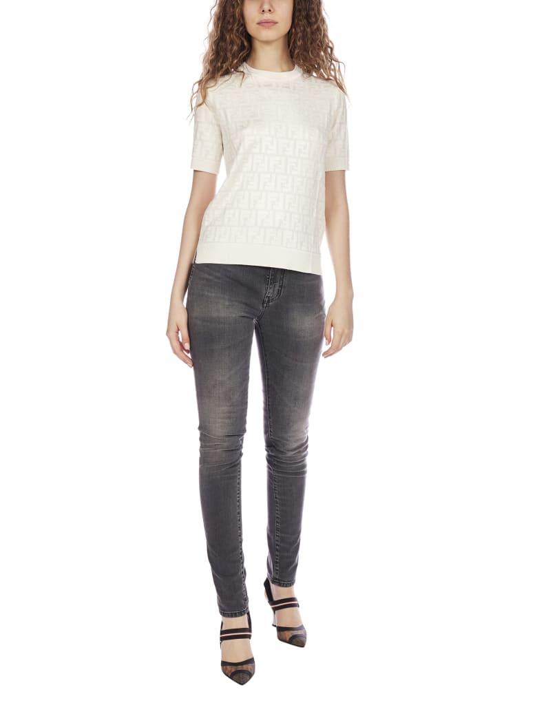 Fendi Ff Jacquard Cotton And Viscose Blend Sweater - White