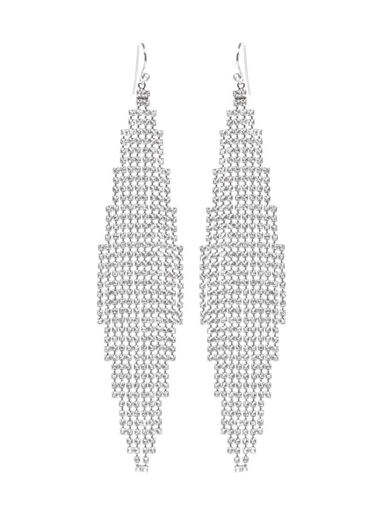 Saint Laurent Damier Earrings - Palladium/crystal