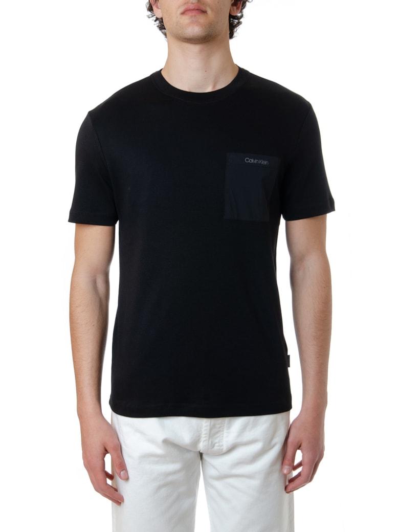 Calvin Klein Black Cotton T-shirt With Logo Pocket - Black
