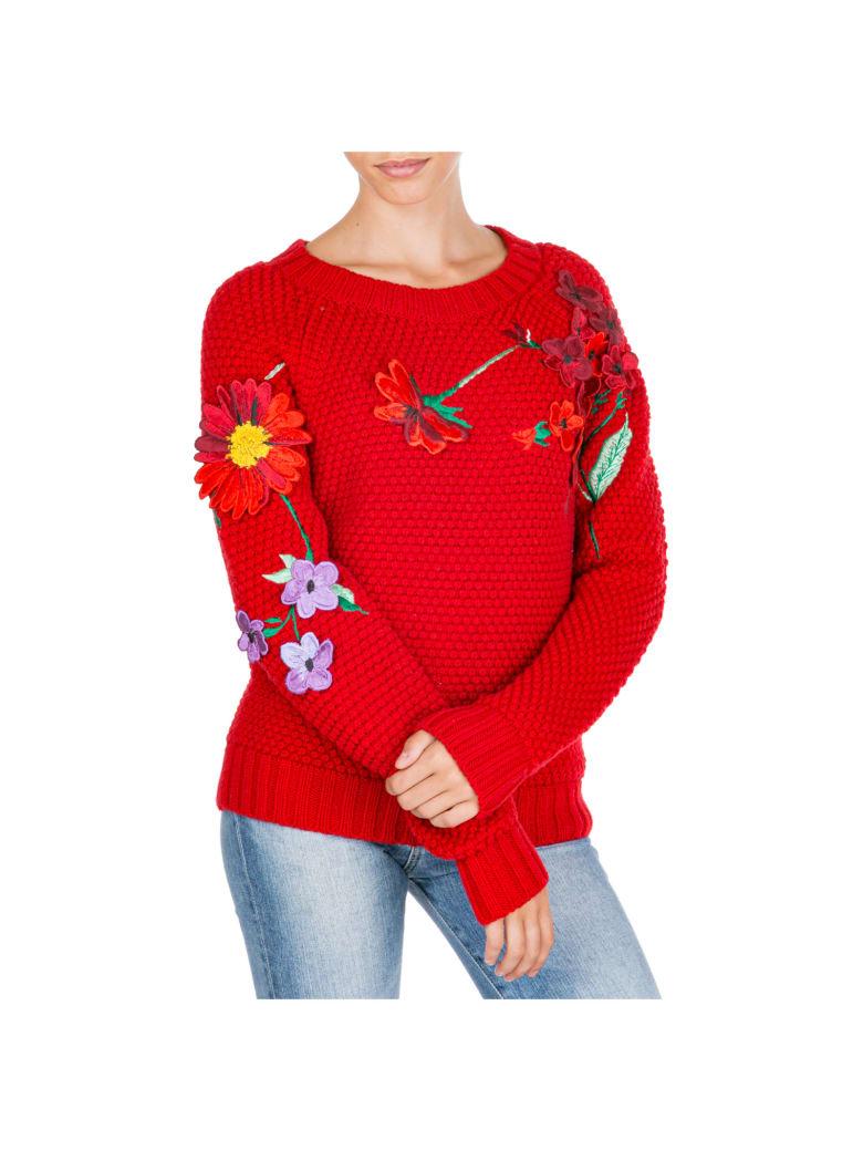 Blumarine  Jumper Sweater Crew Neck Round - Rosso