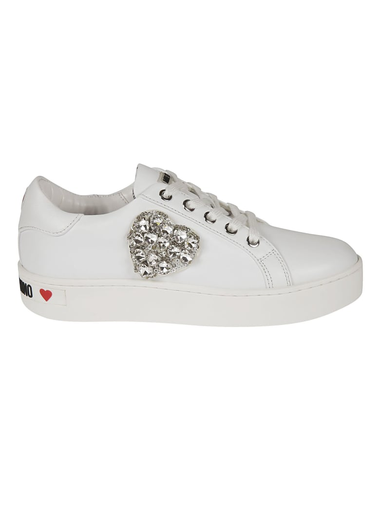 Love Moschino Heart Embellished Sneakers - White