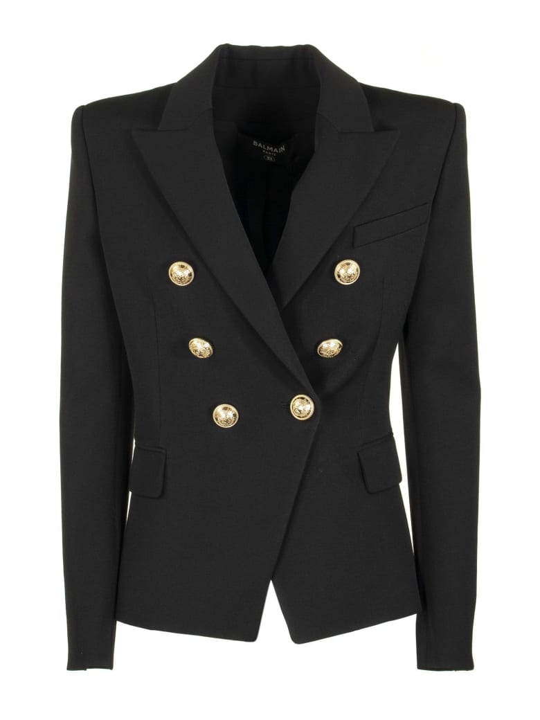 Balmain Double Breasted Blazer Jacket Black - Black