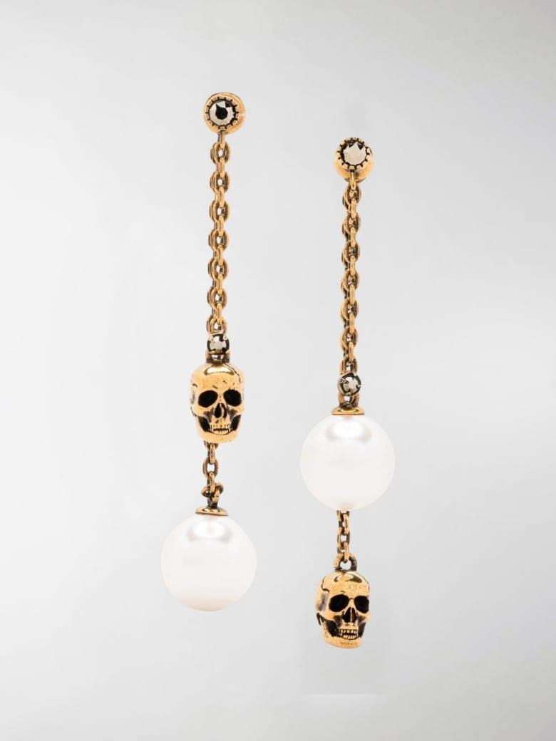 Alexander McQueen Skull Earrings With Pearls - Metallic