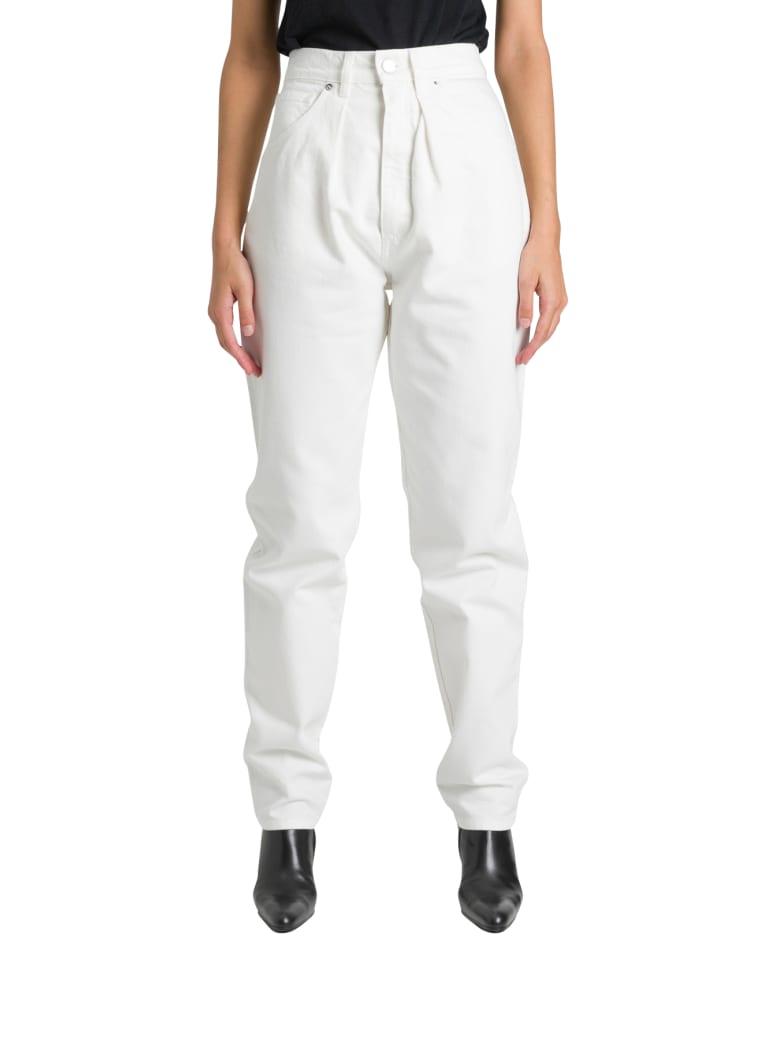 Alberta Ferretti Jeans A Vita Alta Con Pinces Morbido Sulla Gamba - Bianco