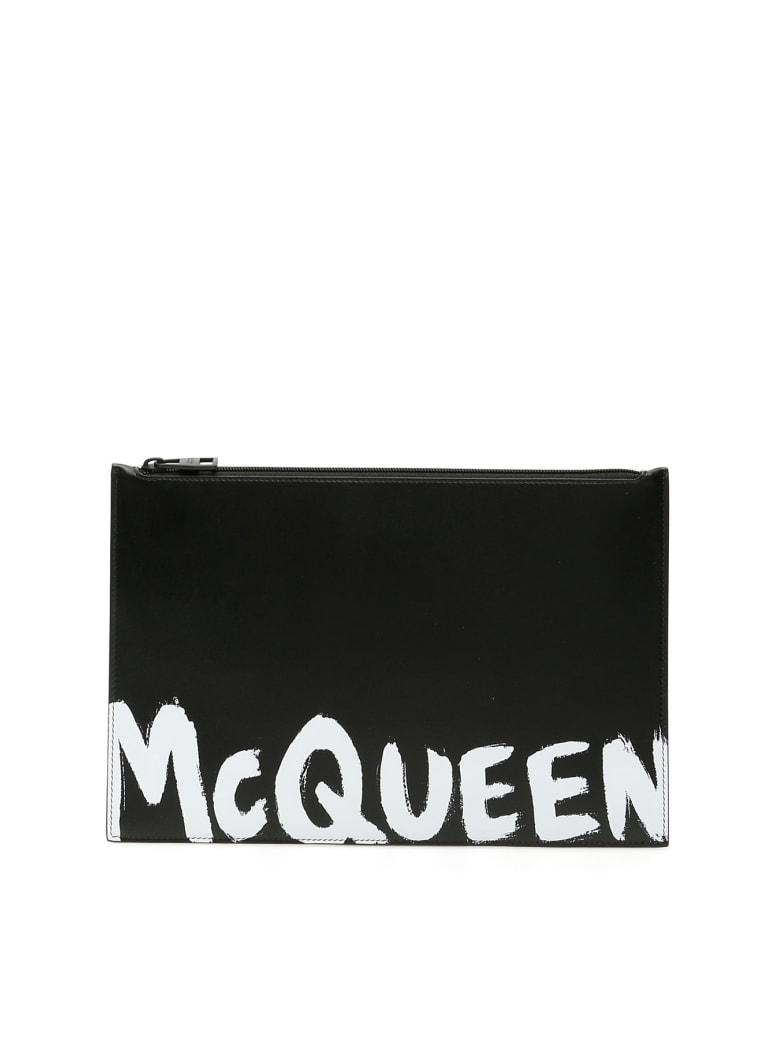 Alexander McQueen Graffiti Logo Pouch - BLACK WHITE (Black)