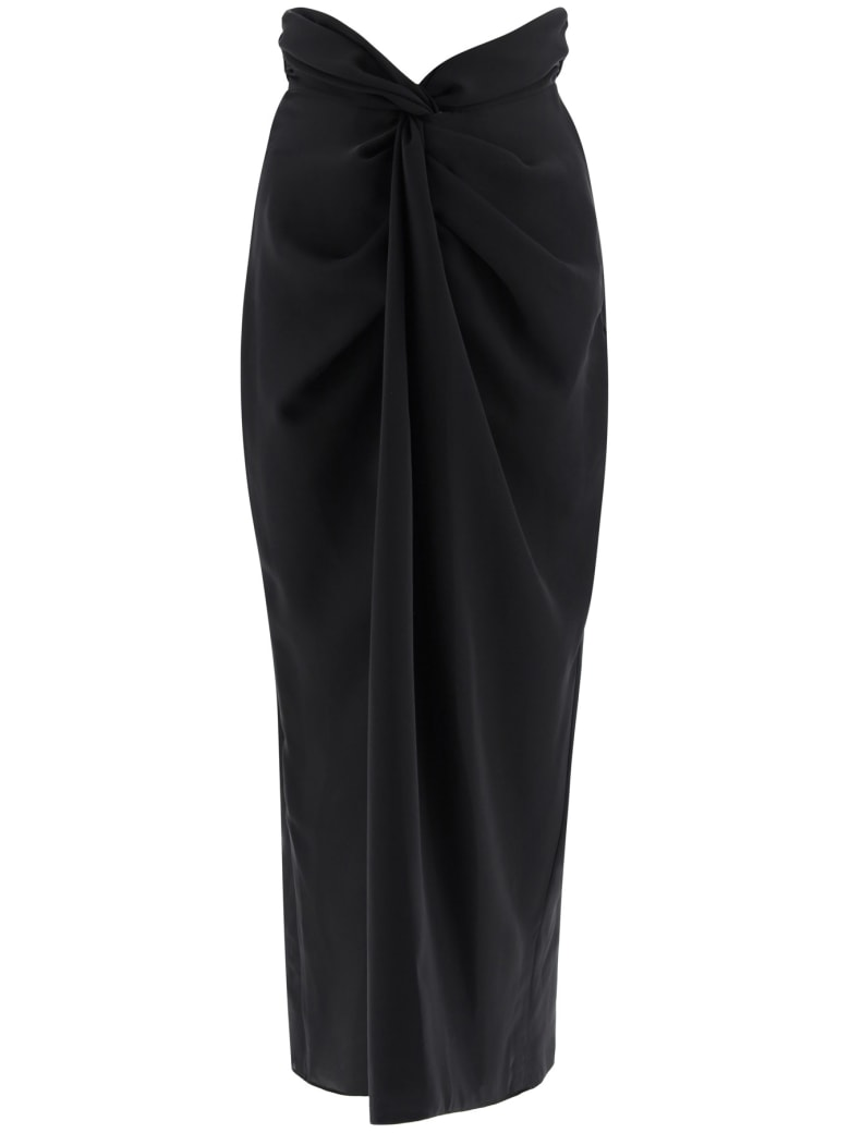 A.W.A.K.E. Mode Draped Skirt With Knots - BLACK (Black)