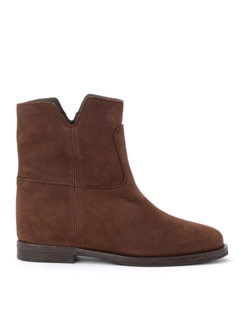 Via Roma 15 Ankle Boot In Brown Suede With Side Vents - MARRONE