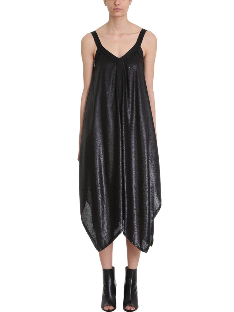 L'Autre Chose Black Sequins And Lurex Dress - black