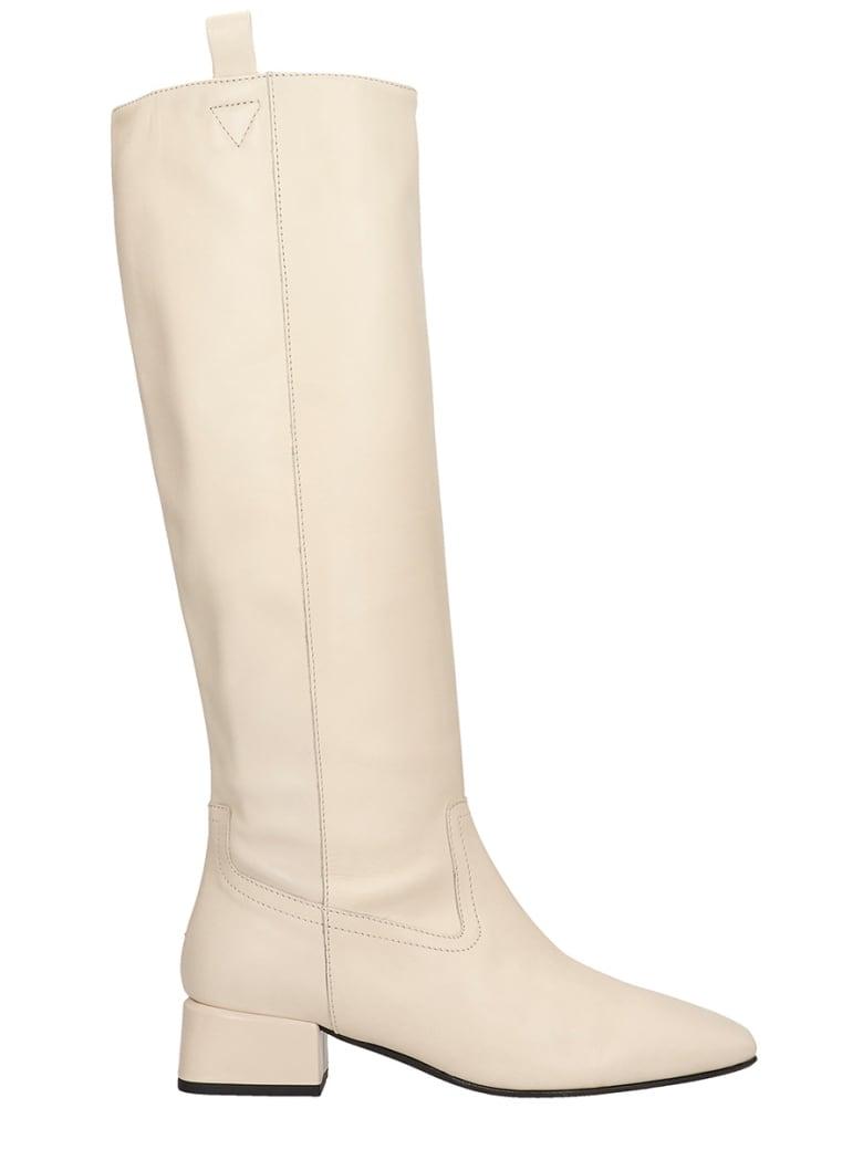 Fabio Rusconi Low Heels Boots In Beige Leather - beige
