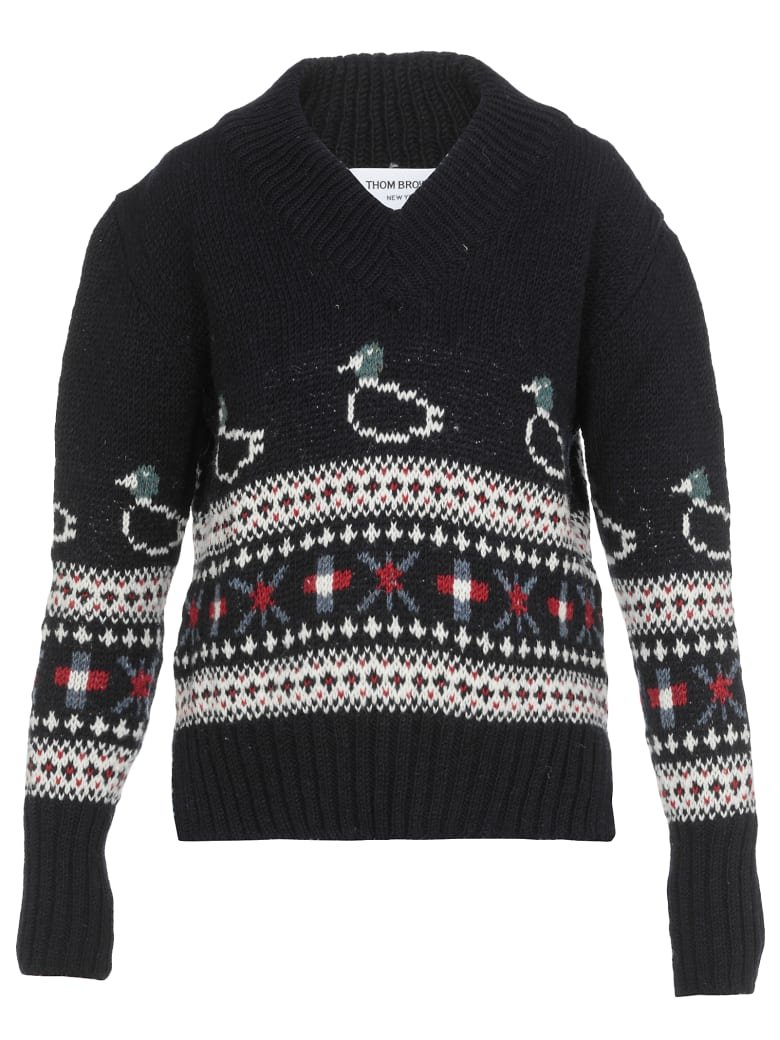 Thom Browne Jacquar Sweater - NAVY