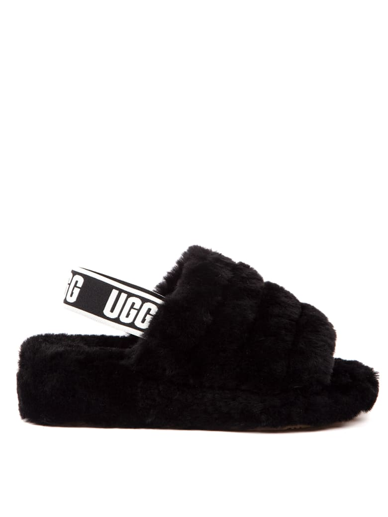 UGG Black Leather Fluff Yeah Logo Slide - Black