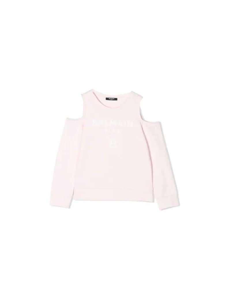Balmain Sweatshirt With Bare Shoulders - Pink
