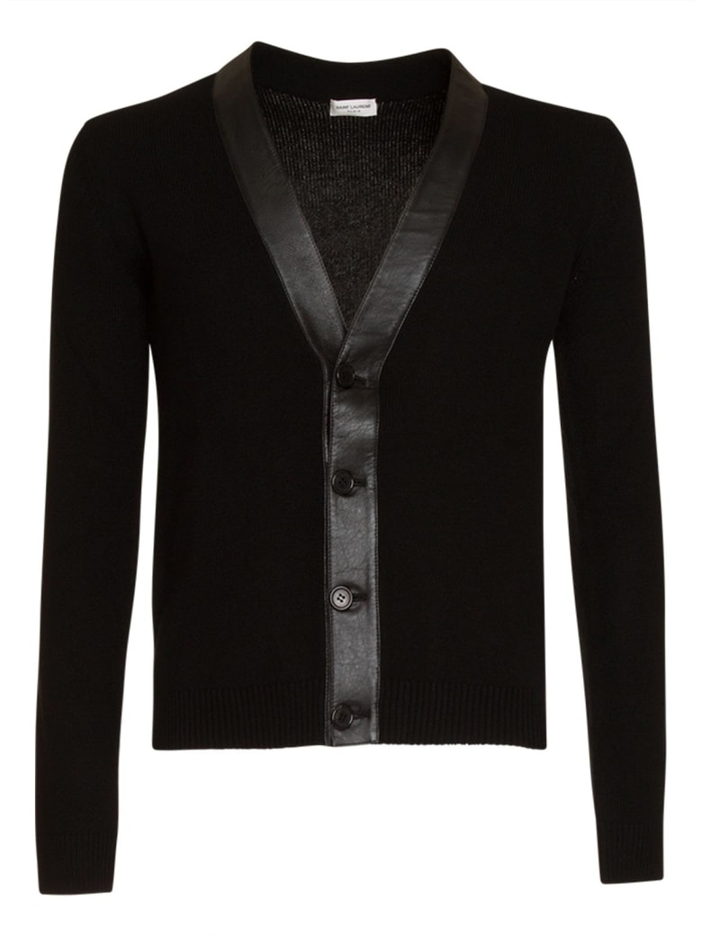 sito affidabile e6883 61fb0 Best price on the market at italist | Saint Laurent Saint Laurent Cashmere  And Lambskin Cardigan In Black