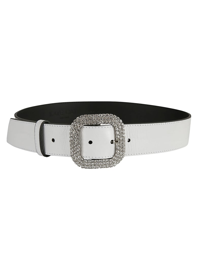 Kate Cate Crystal Buckled Belt - White