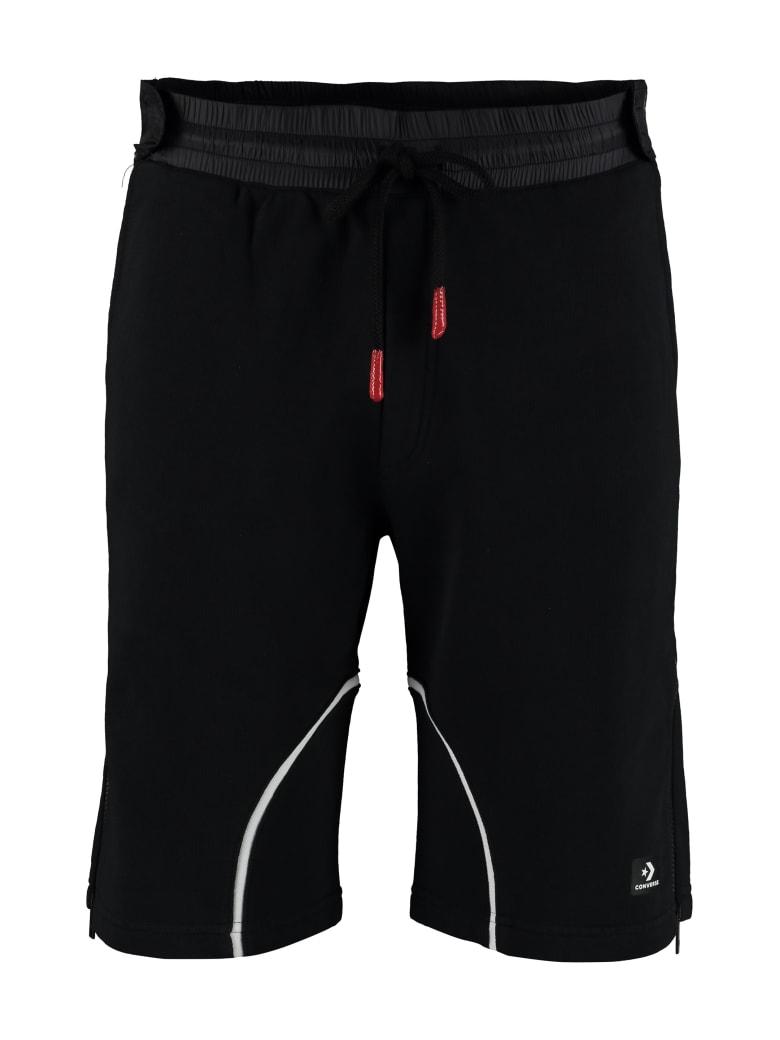 Converse Logo Print Fleece Shorts - black