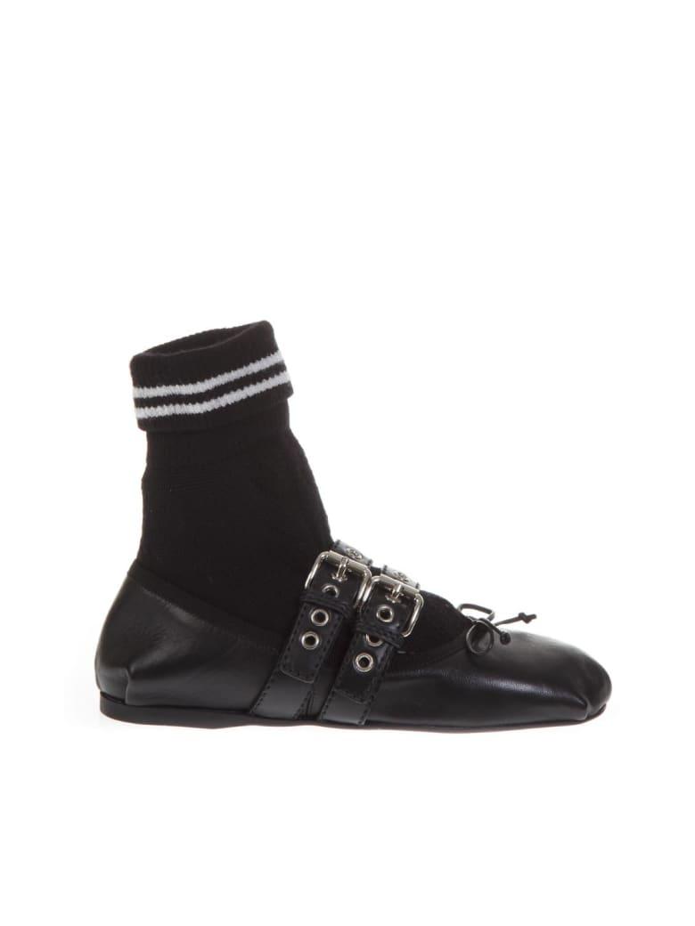 Miu Miu Black Leather Ballerinas With Sport Sock - Black