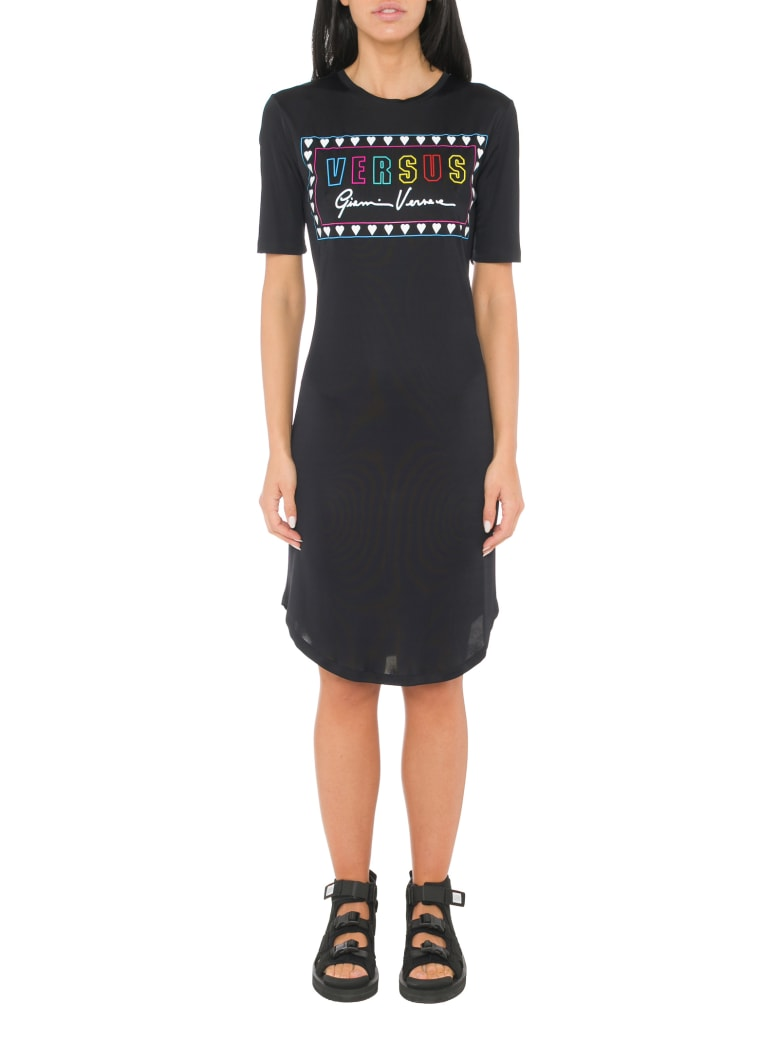 Versus Versace Printed Slim Fit Dress - Black